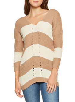 Striped Knit Sweater - 3020038348129