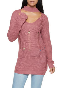 Distressed Keyhole Sweater - 3020038348130