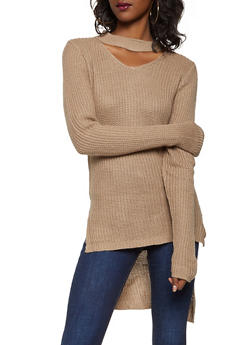 Choker Neck High Low Sweater - 3020038348131