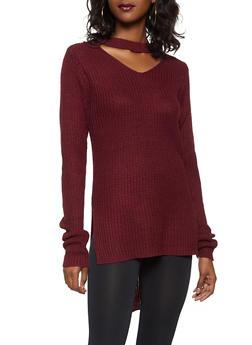 Choker Neck High Low Sweater - 3020038348131