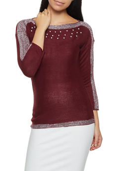 Shimmer Knit Faux Pearl Sweater - 3020038348160