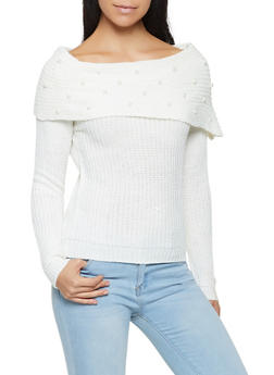 Faux Pearl Studded Off the Shoulder Sweater - 3020038348267