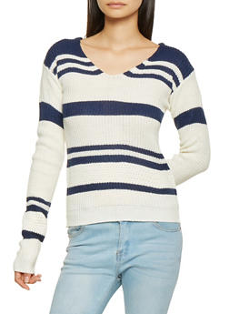 Lace Up Back Striped Sweater - 3020038348268