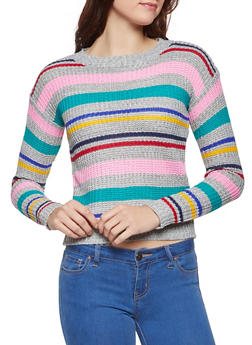 Striped Knit Sweater - 3020038348269