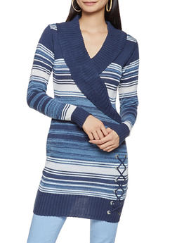 Shawl Collar Striped Sweater Dress - 3020038348301