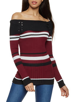 Striped Off the Shoulder Sweater - 3020038348434