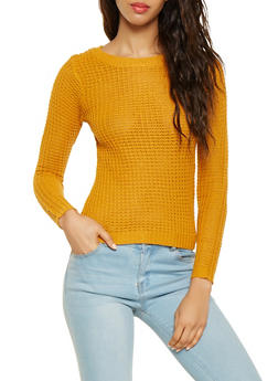 Waffle Knit High Low Sweater - 3020038349102