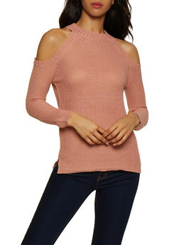 Solid Cold Shoulder Sweater - 3020038349103