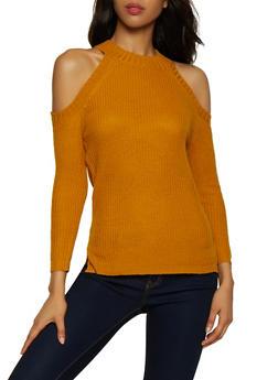 Solid Cold Shoulder Sweater - 3020038349103