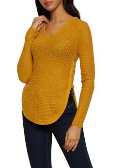 Lace Up Side V Neck Sweater - 3020038349104