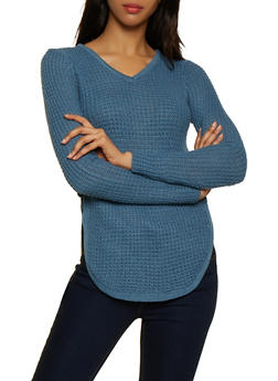 Lace Up Side V Neck Sweater - 3020038349104