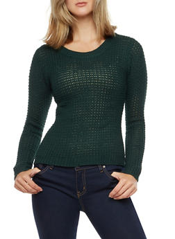 Long Sleeve High Low Solid Knit Sweater - 3020038349105