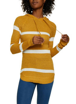 Hooded Long Sleeve Striped Sweater - 3020038349108