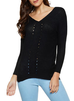 Perforated Detail Tunic Sweater - 3020038349109