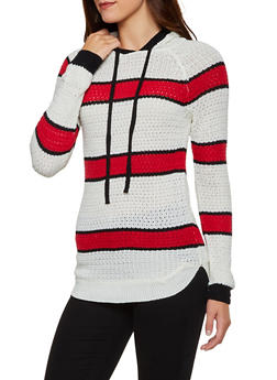 Striped Knit Hooded Sweater - 3020038349111