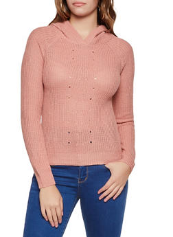 Solid Knit Hooded Sweater - 3020038349112