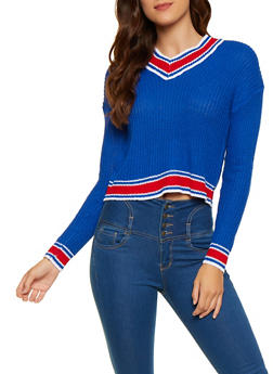 Striped Trim Sweater - 3020038349113