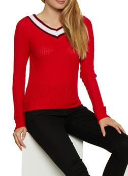 Contrast V Neck Knit Sweater - 3020038349115