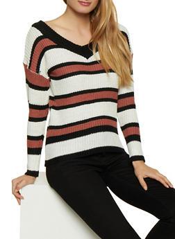 Striped V Neck Knit Sweater - 3020038349116