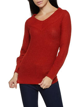 Long Sleeve V Neck Sweater - 3020038349117