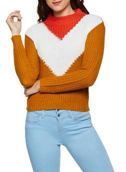 Chevron Mock Neck Sweater - 3020038349125