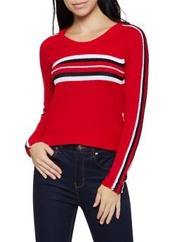 Stripe Detail Long Sleeve Sweater - 3020038349126