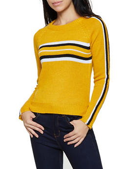 Stripe Detail Long Sleeve Sweater - 3020038349126