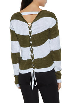 Striped Lace Up Back Sweater - 3020038349141