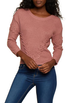 Scoop Neck Lace Up Knit Sweater - 3020038349146
