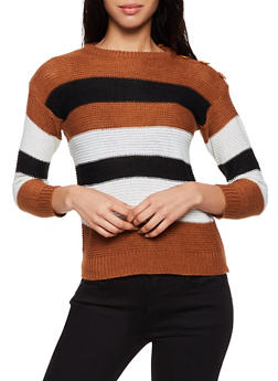 Striped Button Detail Sweater - 3020038349148