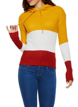 Color Block Hooded Sweater - 3020038349156