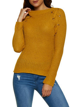 Lace Up Detail Knit Sweater - 3020038349271