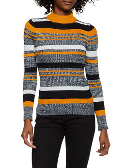 Striped Mock Neck Sweater | 3020038349420 - 3020038349420