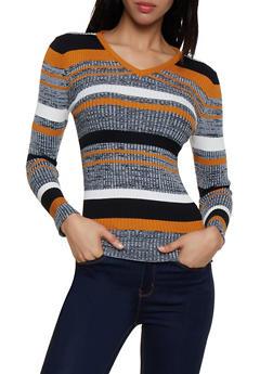 Striped Knit V Neck Sweater - 3020038349421