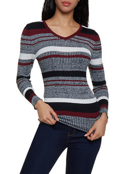 Striped Knit V Neck Sweater - 3020038349421