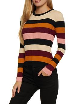 Striped Knit Crew Neck Sweater - 3020038349423