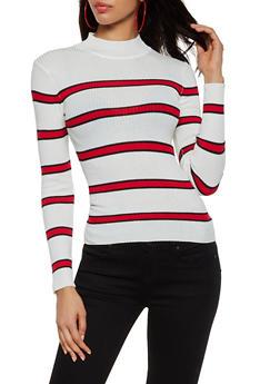 Striped Rib Knit Mock Neck Sweater - 3020038349426