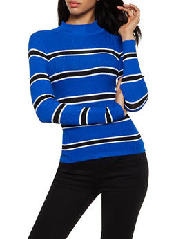 Striped Rib Knit Mock Neck Sweater - 3020038349426
