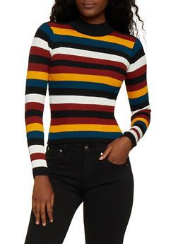 Striped Mock Neck Sweater - 3020038349428