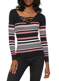 Striped Lace Up Sweater - 3020051060069
