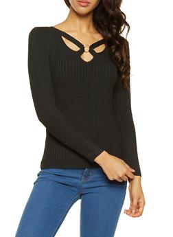 Caged V Neck Sweater - 3020051060072