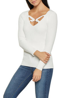 Caged V Neck Sweater - 3020051060072