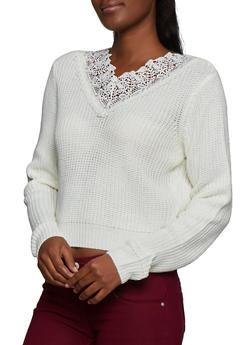 Crochet Detail Knit Sweater - 3020051060126