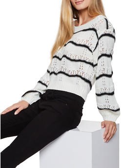 Striped Eyelet Sweater - 3020051060127