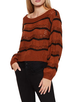 Striped Eyelet Sweater - 3020051060127