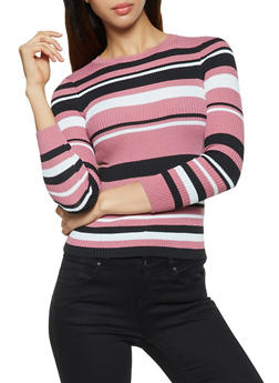 Striped Long Sleeve Ribbed Sweater - 3020051060135