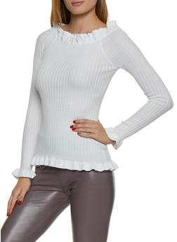 Ruffle Trim Off the Shoulder Sweater - 3020051060138
