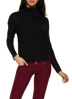 Frayed Turtleneck Sweater - 3020051060180