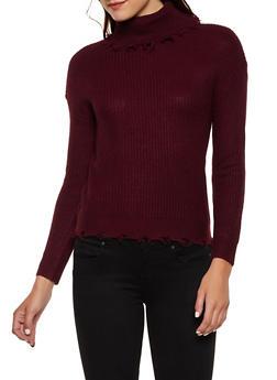 Frayed Turtleneck Sweater - 3020051060180