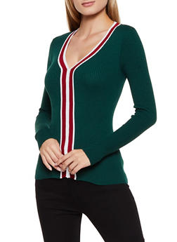 V Neck Contrast Trim Sweater - 3020051060184